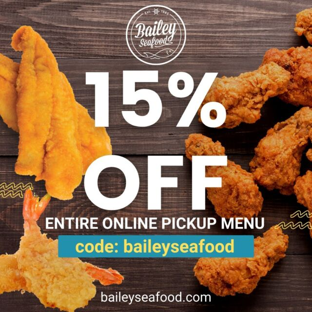 🔥15% OFF Today only on our ENTIRE online pickup menu.💥 Enter code: baileyseafood at checkout and we'll have your order ready when you arrive! . Order at baileyseafood.com 📱716-833-1973 ⏰We open at 3pm.  Last order at 7:20pm . . . . . . . . #baileyseafoodfresh #15percentoff #buffalo #wny #716 #buffalobills #buffalofood #bestofbuffalo #buffaloeats